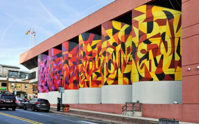 Colorful Geometric Public Art Mural