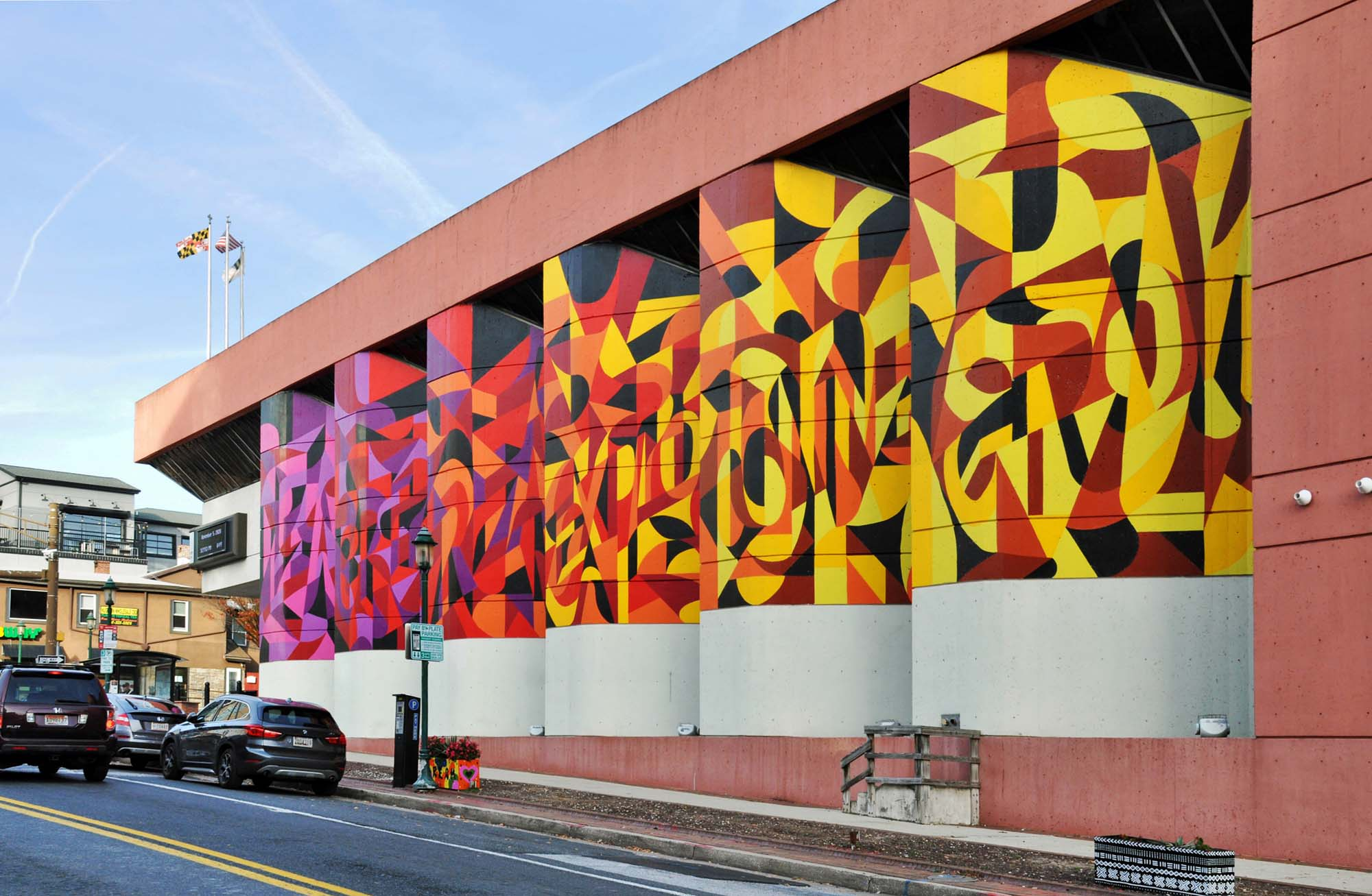 Colorful Geometric Public Art Mural